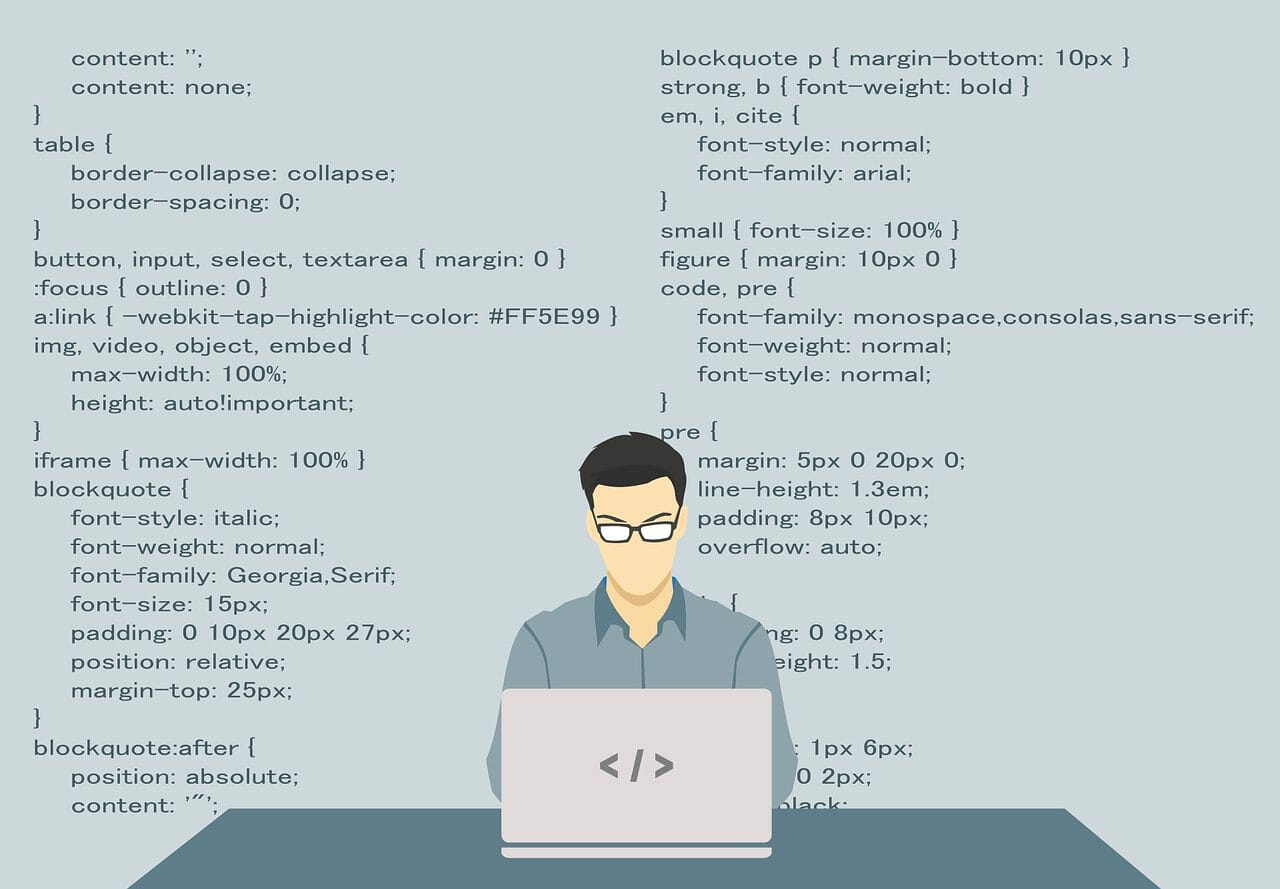Vector made art showing programmer with language behind him