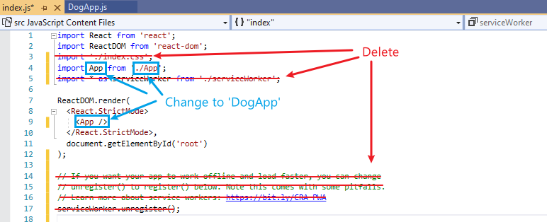 Screenshot of code that needs to be deleted