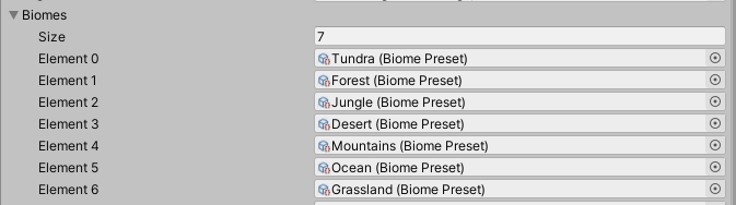 List of Biomes added in Unity Inspector for Procedural Map Generation