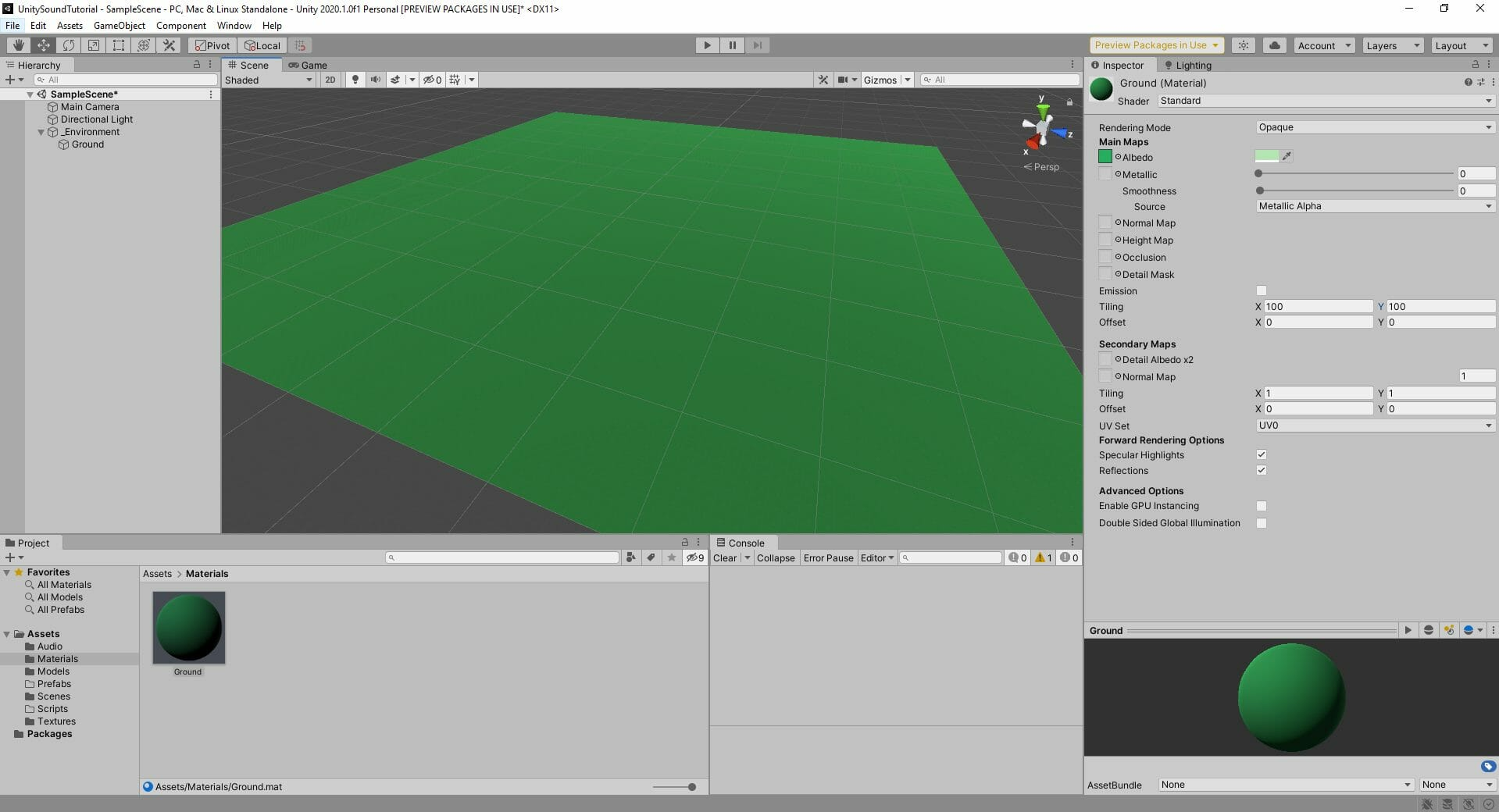 creating the grass ground material